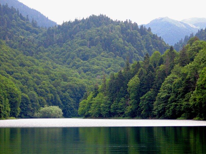 Гладкая поверхность Биоградского озера Черногория