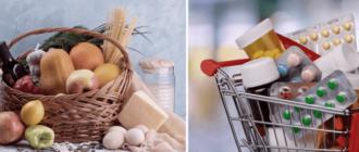 иммуномодуляторы, витамины, препараты и корзина с продуктами